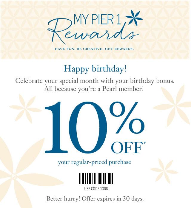 Pier 1 Coupon Birthday Discount