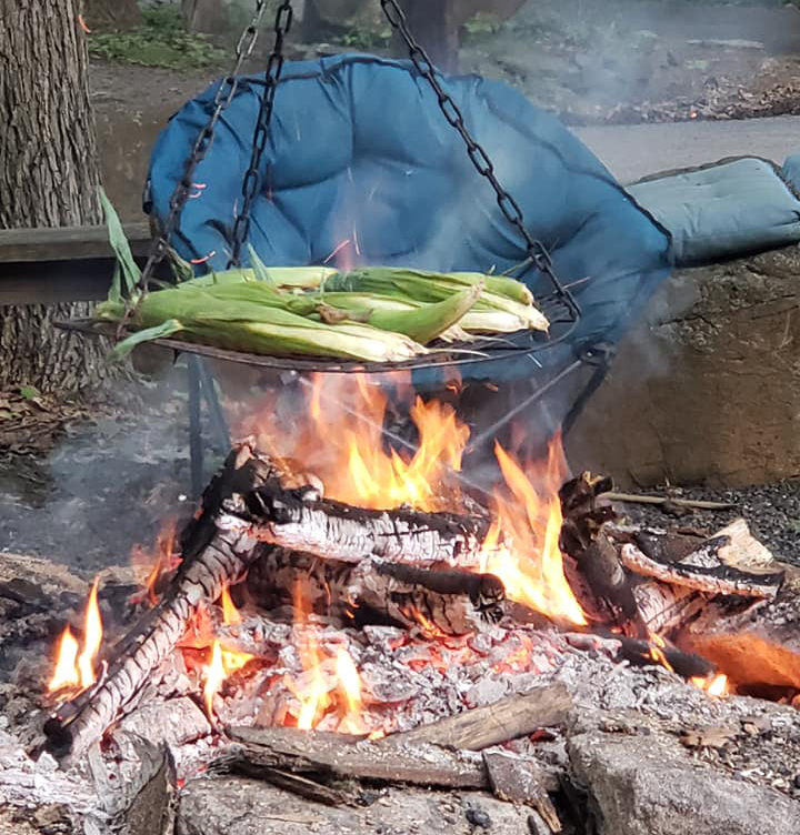 Campfire cooking while camping for Father's Day